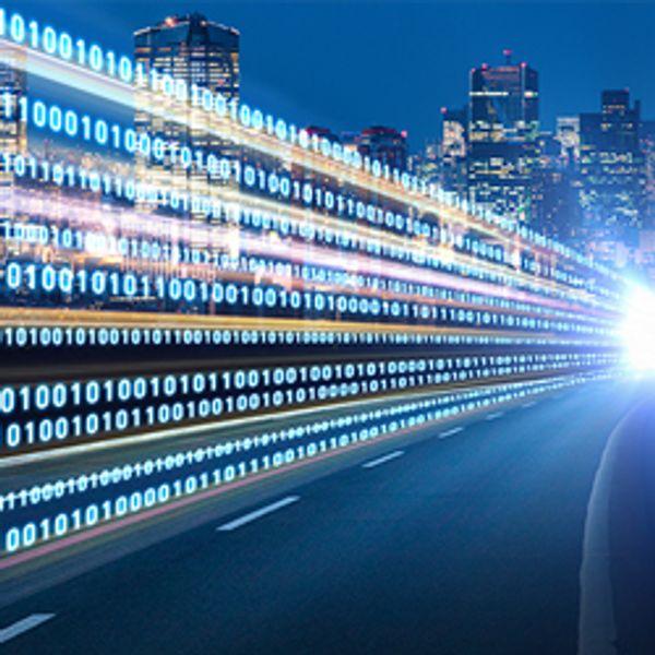 Digital signals flying over highway