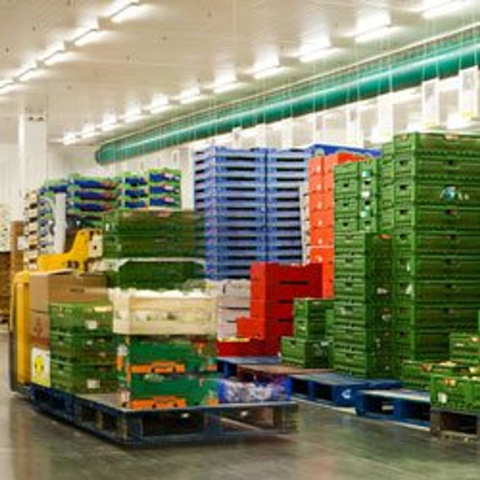 Warehouse full of shipping containers