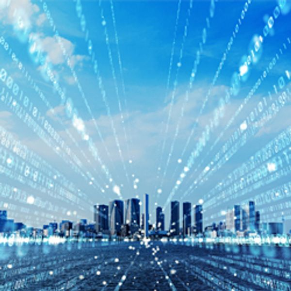 Smart city and digital communication concept illustration