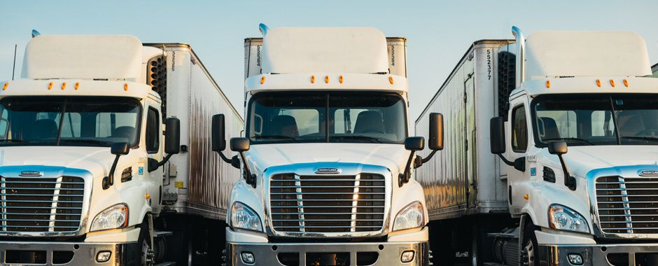 front of three Freightliner trucks