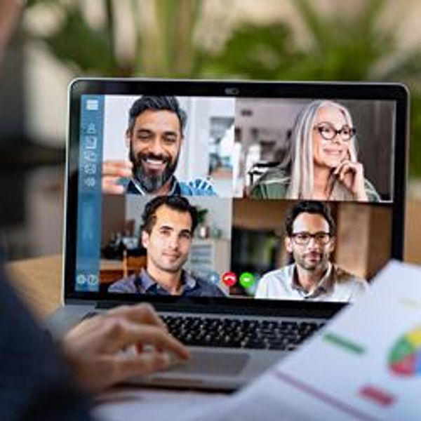 Team members on video chat